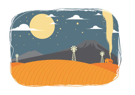 mountain view: night time with mountain view and windmill Illustration