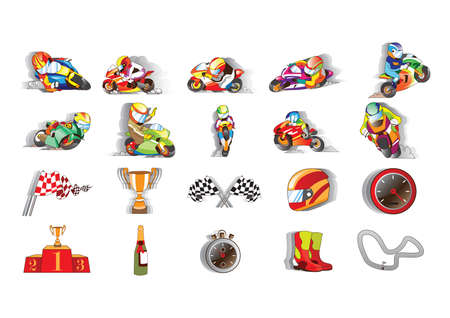 related: collection of racing related objects Illustration