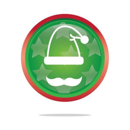 clause: santa clause cap and mustache button Illustration