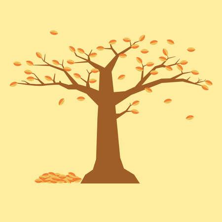 fallen tree: autumn tree with fallen leaves