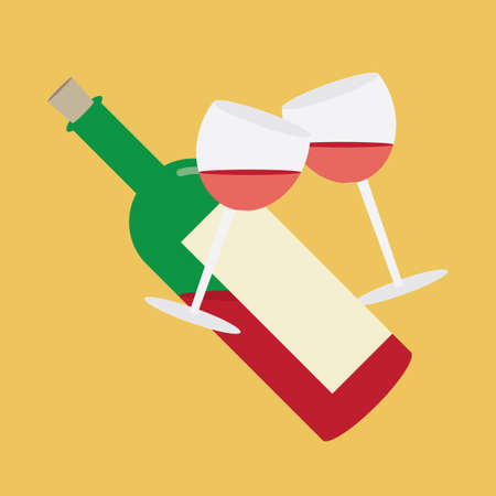 toasting: toasting gesture of two wine glasses with wine bottle Illustration