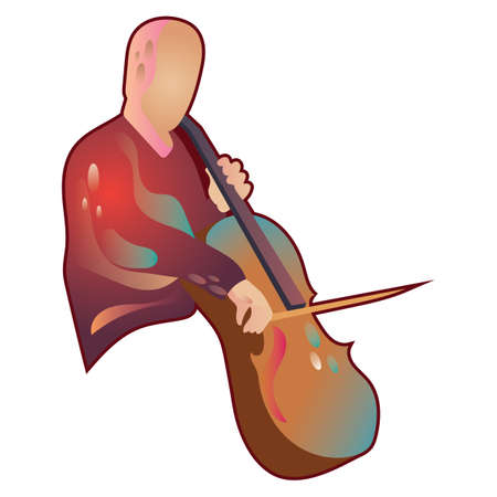 cellos: man playing cello Illustration