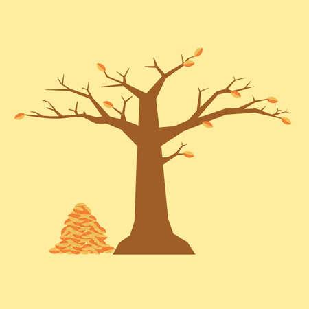 fallen: autumn tree with fallen leaves