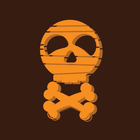 mummified: skull with cross bones