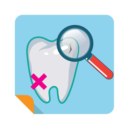 examining: examining tooth with magnifier Illustration