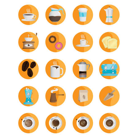 objects: collection of coffee objects Illustration