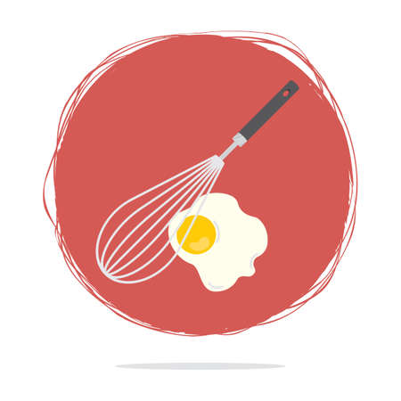 fried egg: whisk with fried egg