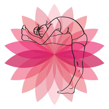 practicing: woman practicing yoga in head to knee pose