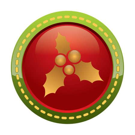 x   mas: mistletoe button Illustration