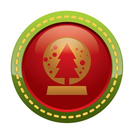 snowglobe: snowglobe with christmas tree inside button
