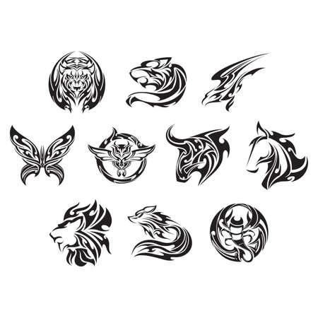 Ensemble d'icônes de tatouage Banque d'images - 52973943