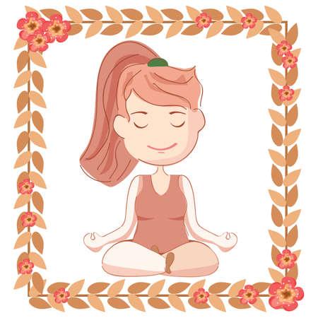 lotus pose: girl practicing yoga in half lotus pose Illustration