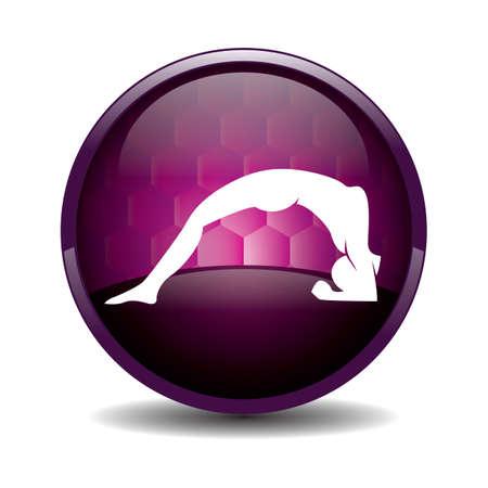 silhouette ragazza praticare lo yoga in rivolta verso l'alto il personale di due piedi pongono