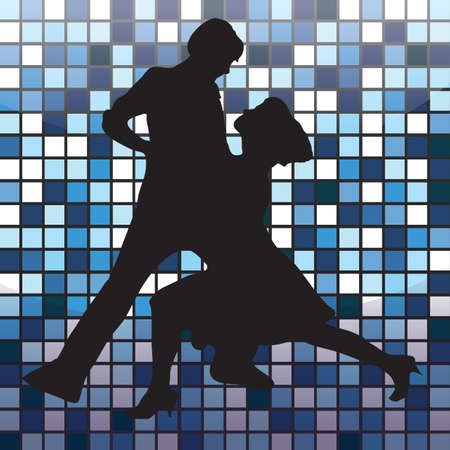 striking: silhouette of a couple striking dance pose Illustration