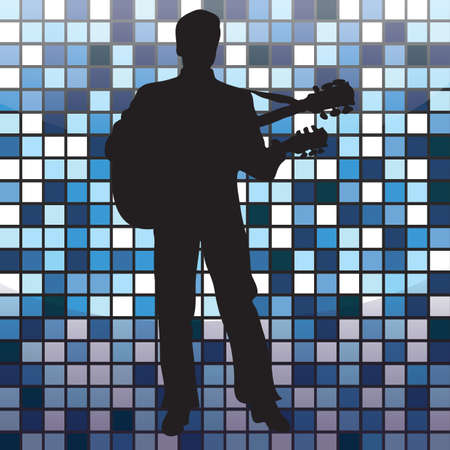 man playing guitar: silhouette of a man playing guitar
