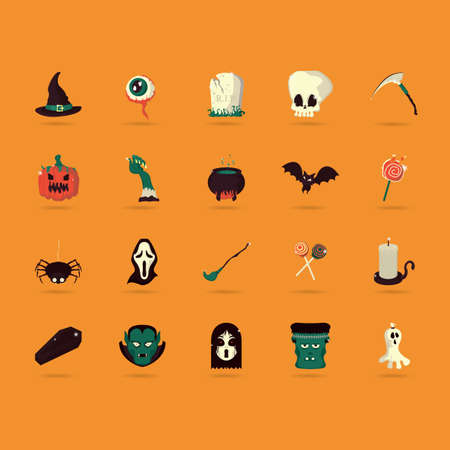 flying coffin: halloween icons set