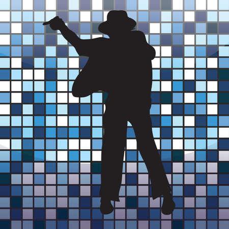 dance pose: silhouette of a man striking dance pose