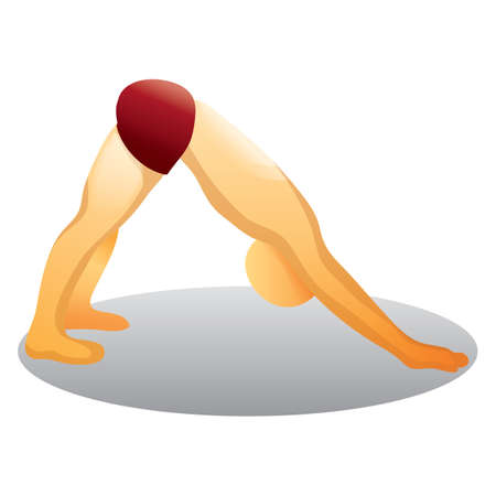downward: man practicing downward facing dog posture