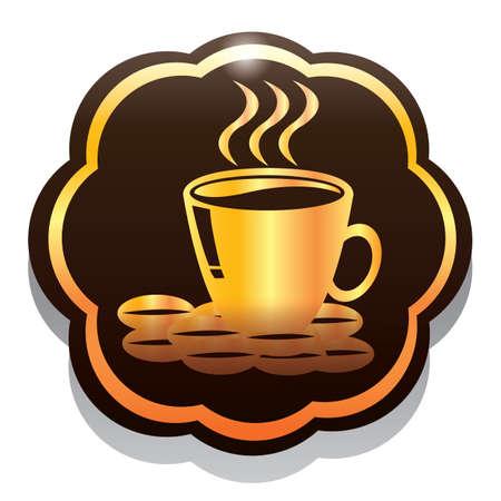 coffee beans: hot coffee mug with beans