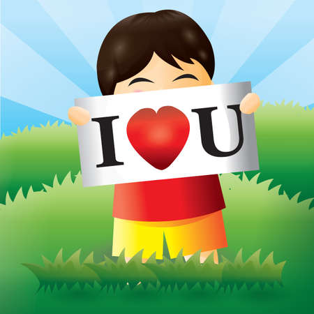 i love u: boy with i love u sign
