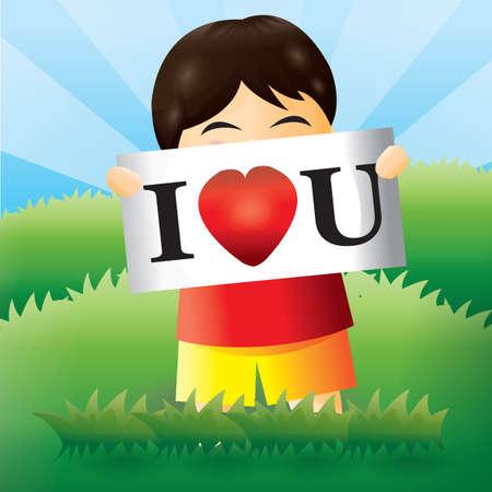 i love u: boy with i love u sign