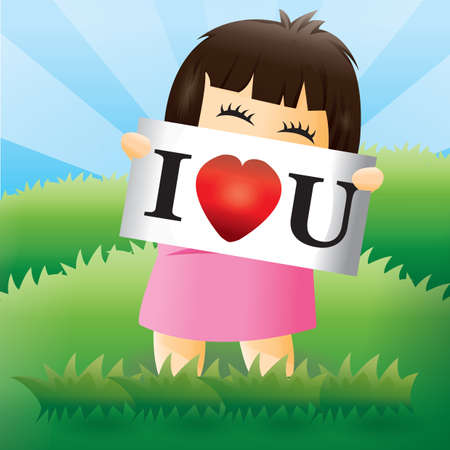 i love u: girl with i love u sign