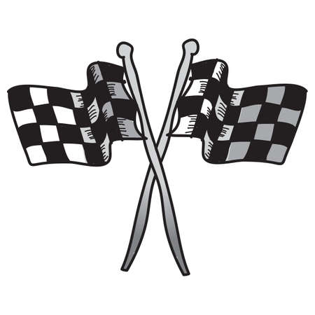 crossed checkered flags: race flags Illustration