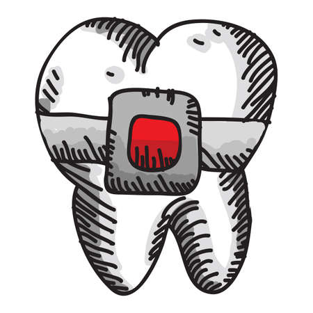 tooth with brace
