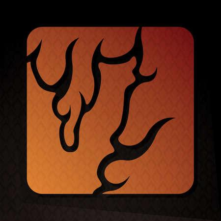 flame letters: alphabet v Illustration