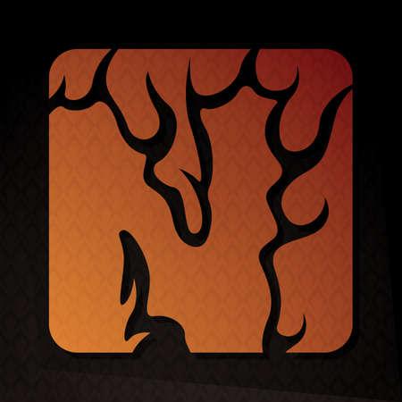flame letters: alphabet n Illustration