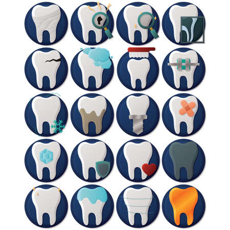 cavity braces: set of dental icons Illustration