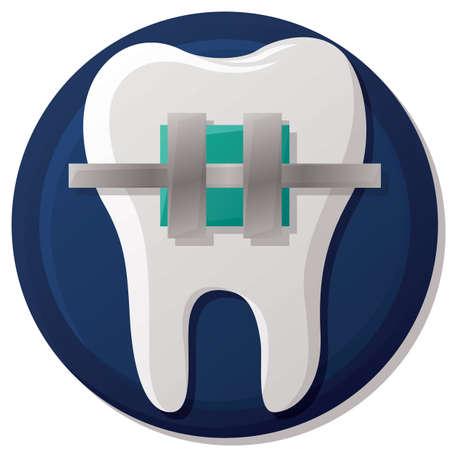 Zahn mit Zahnspange Standard-Bild - 53000165
