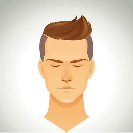 cut short: man with trendy hairstyle Illustration