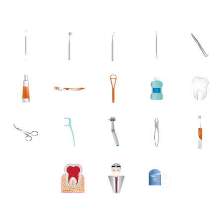 tongue cleaner: dental collection Illustration