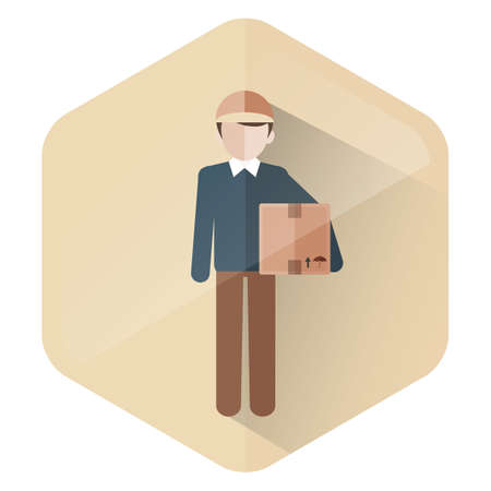 guy standing: man with box