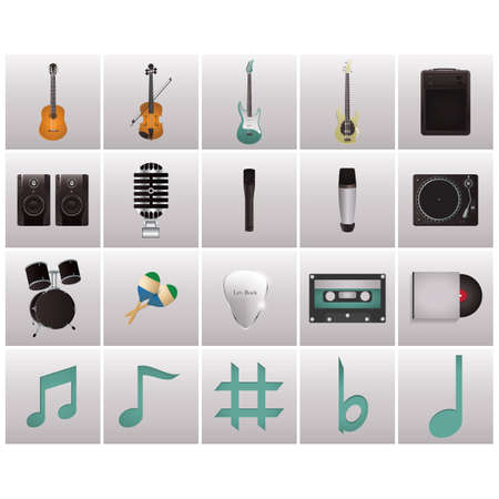 frets: collection of musical instruments Illustration