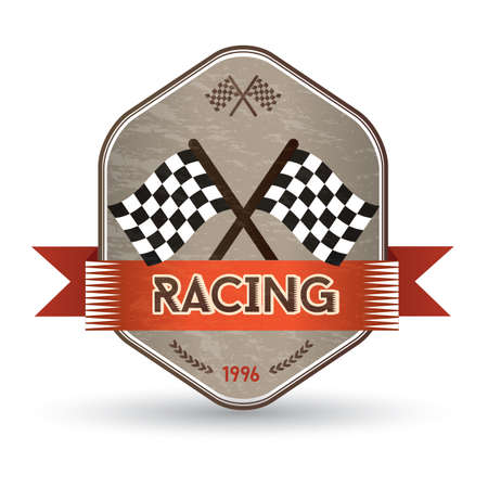 checkered label: race flag label