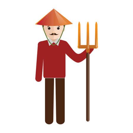 pitchfork: farmer with pitchfork Illustration