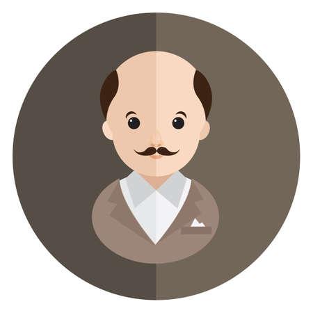bald: bald man with mustache