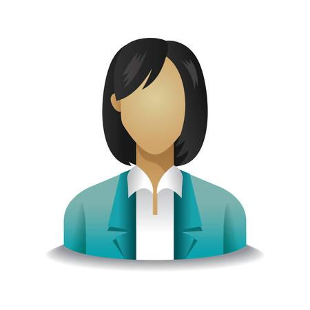 woman short hair: businesswoman Illustration