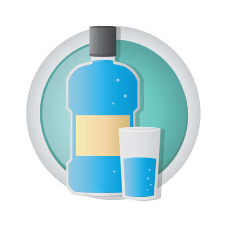 mouthwash: mouthwash with glass of water Illustration
