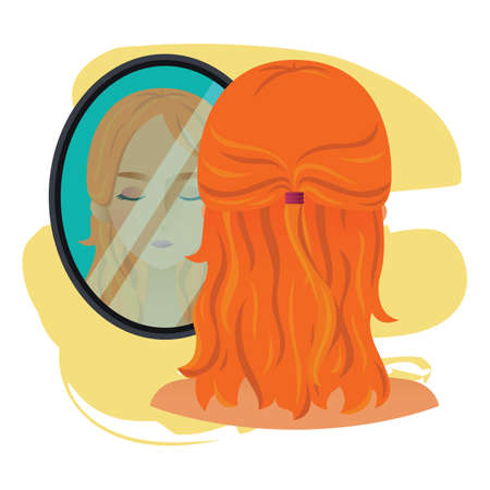 to mirror: woman character with mirror