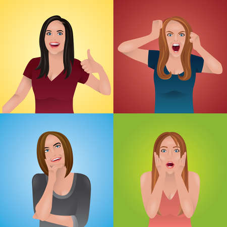 women in different expressions and gestures