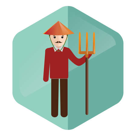 pitchfork: farmer with pitchfork Illustration