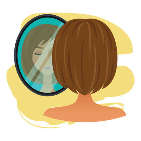 woman mirror: woman character with mirror