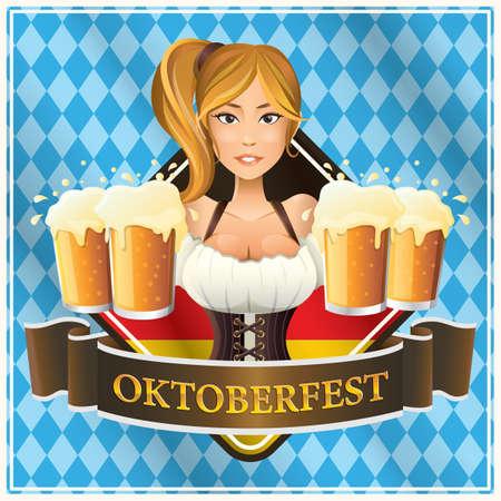 Beiers meisje met bier mokken