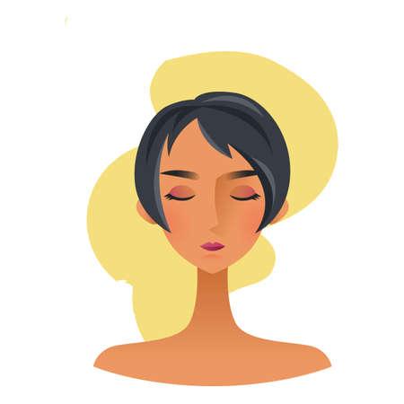 woman short hair: woman character