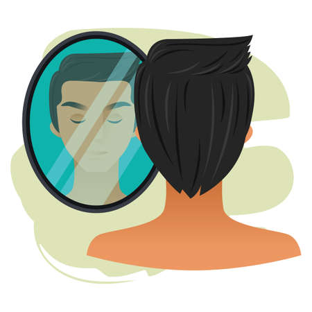 looking at mirror: man character with mirror