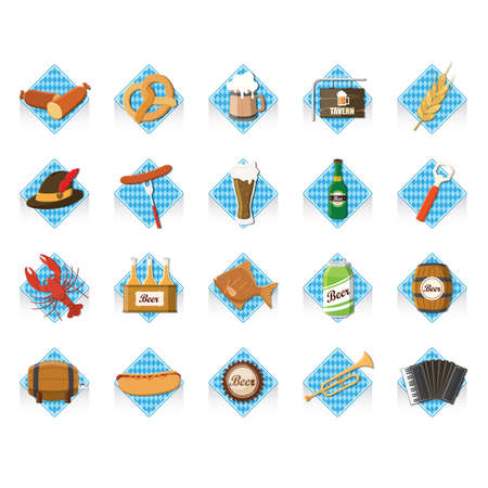 bretzel: set of oktoberfest icons Illustration