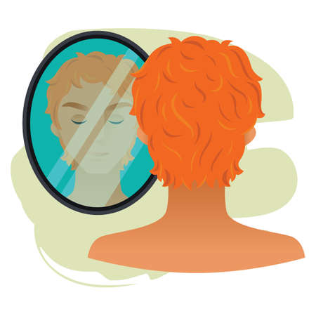 look in mirror: man character